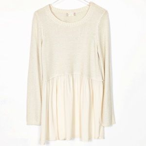 Altar'd State Long Sleeve Cream Sweater Tunic Top